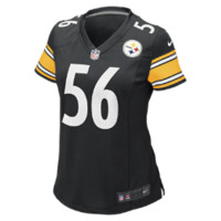 NFL Pittsburgh Steelers (LaMarr Woodley) Women's Football Home Game Jersey (Black)