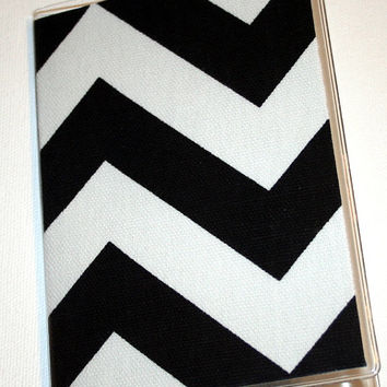 Passport Cover / Holder / Case - Chevron Zig Zag Black