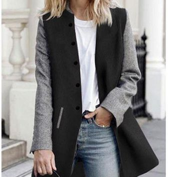 C| Chicloth Women Winter Color Splice Long Sleeves Side Pockets Buttons Outerwear Coat