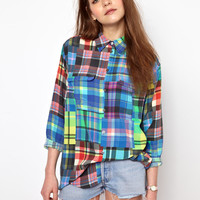 Equipment | Equipment Signature Silk Shirt in Colour Wheel Check at ASOS