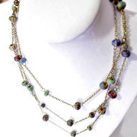 Painted czech glass bead long multistrand necklace from brass chain