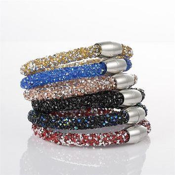 2017 Mesh Crystal Cuff Star Bracelet for women With Crystal stones Filled Magnetic Clasp Charm Bracelets Bangles Hot