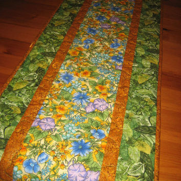 Quilted Table Runner Summer Garden Purple, Blue and Yellow Flowers Green Leaves Table Decor Handmade