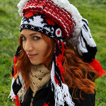 Crochet beanie Native american Chief hat Imitation authentic Indian Headdress Handmade warbonnet Feather headdress Knitted shamanic Roach