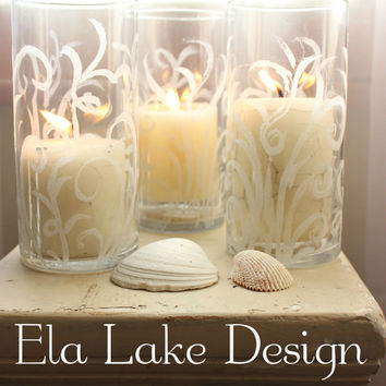 Sand Swirl Candle Holder / Hurricane or Centerpiece Vase for Coastal & Beach Wedding Decoration , Rustic Reception Decor