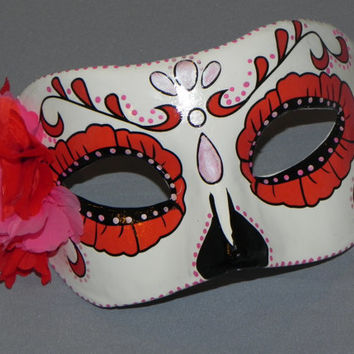 Red and Pink Day of the Dead Mask with Skeleton Accent - Halloween Mask