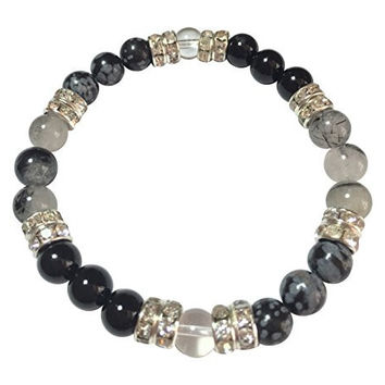 Balance: Natural Onyx, Snowflake Obsidian, Clear and Tourmalinated Quartz 7 Inch Beaded Stretch Bracelet