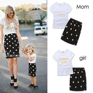 DCCKL3Z 2017 Lovely polka dot mother daughter dresses cotton summer mother and daughter clothes family look kids parent child outfits