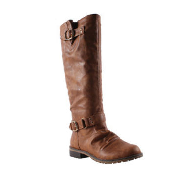 Elegant by Beston Women's 'Dillian-7' Cognac Riding Boots | Overstock.com