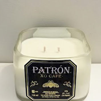 NEW! Patron Cafe Coffee Tequila Liqueur Bottle Natural Soy Candle- Black Purple and Gold Label, Double Wicked