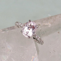 Pale Pink Spinel Diamond Accented 14k White Gold Engagement Ring Morganite Alternative