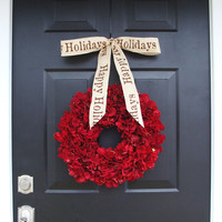 WREATH SALE Holiday Wreath, Christmas Wreath, Hydrangea Wreath, Christmas Gift, Winter Wreath, Happy Holidays Red Wreath, Door Wreath