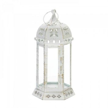 Large Distressed Floral Lantern