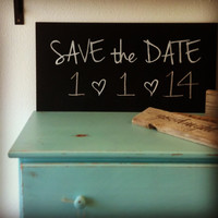 Fill-in-the-Date Save the Date Painted Chalkboard Sign
