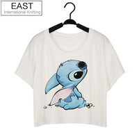 EAST KNITTING Hot Style Women Fashion Tops Printing White Sexy Summer Crop Tops Clubwear T-shirt 4XL Plus Size Free Shipping