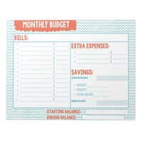 Turquoise and Coral Monthly Budget Planner
