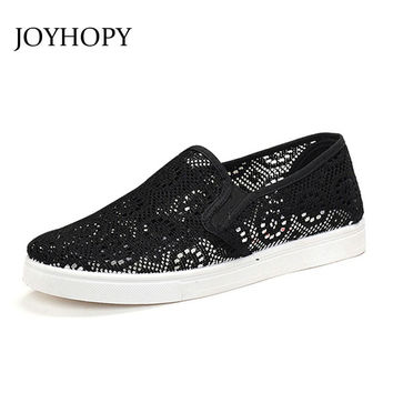 ABB Fashion 2016 Summer Cut-outs Mesh Women Flats Breather Flat With Woman Casual Shoes Black White Ladies Loafers Zapatos Mujer