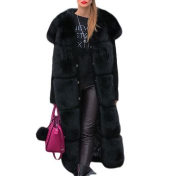 Shaggy Luxury Patchwork Artifical Fox Fur Vest Fashion Women Winter Vintage Female Ladies Faux Fox Furs A-Line Coat Casual FV051