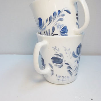 A Set of Two Vintage Stoneware Mugs Hand Painted Scandinavian Style Design Rosemaling, Swedish, Norwegian Folk Art Style
