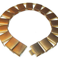 "Statement Choker Necklace Brushed Gold Metal Bar Links 16"" Vintage 1980s"