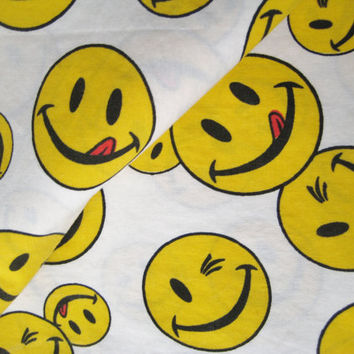 Vintage Joe Boxer Smiley Face Flat Bed Sheet QUEEN Size Craft Fabric Kids Bedding Emoticon Fabric Gently USED Clean