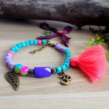 Boho Wing Ohm Bracelet / pink tassel. DULCET FREEDOM Turquoise purple beaded bracelet. Adjustable. Acrylic Czech glass beads. Bohemian look