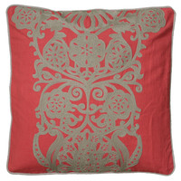 "Hand Crewel Embroidered Coral Pillow Cover (18"" x 18"")"
