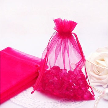 100 Pcs Sheer Organza Wedding Party Favor Decoration Gift Candy Pouch Bag 10*14cm [7983229255]