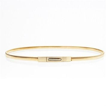 DCCKJG2 2016 Hot sales New women metal belt chain Fashion metal buckle thin elastic waist gold/sliver women skinny belt chain  BL02-1