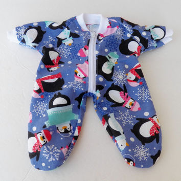 "bitty baby clothes 15"" girl doll or twin, pajamas pjs footed sleeper, purple flannel zip up feetie, handmade adorabledolldesigns, penguin"