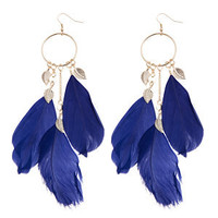 Blue Leaf and Feather Hoop Earrings