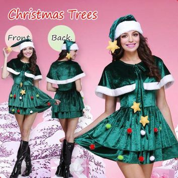 LMFON Women Christmas Tree Clothes Fashion Velvet Shawl Mini Dress Cosplay Party Uniform