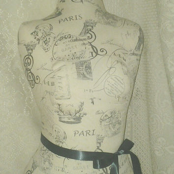 Paris Eiffel Tower Dress Form jewelry display with wood stand. Mannequin torso designs great as bedroom decor french manikin