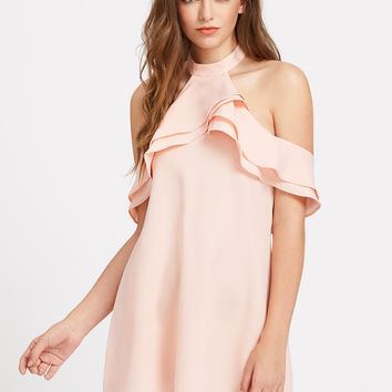 Pink Layered Open Back Halter Mini Dress