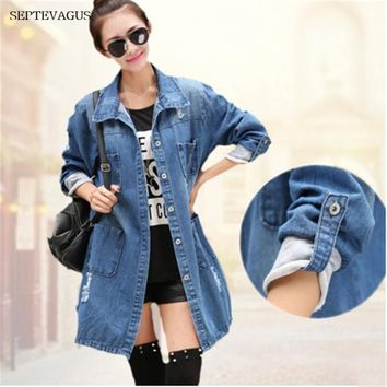 Trendy 2018 Denim Jackets Oversized Size Denim Coats 4XL 5XL Women Hole Boyfriend Style Female Ripped College Spring Autumn Jacket AT_94_13