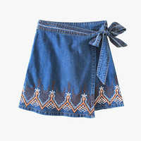 Embroidered Wrap Mini Skirt