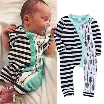 2016 Baby Rompers Newborn Baby Girl Boy Stripe Arrow Cotton Romper Jumpsuit Outfits