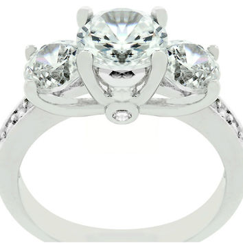 Lisette Three Stone Engagement Ring | 3ct | Cubic Zirconia