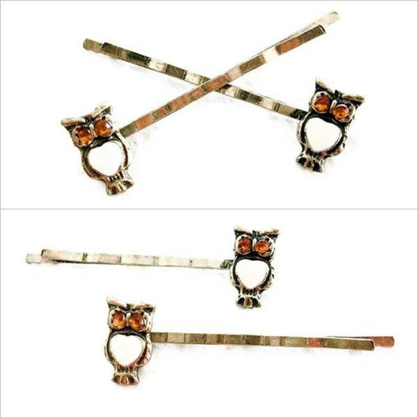 Jeweled Owl Bobby Pins