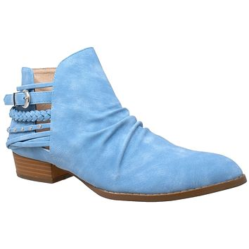 Womens Ankle Boots Western Block Heel Bootie Strappy Stud Buckle Shoes Blue