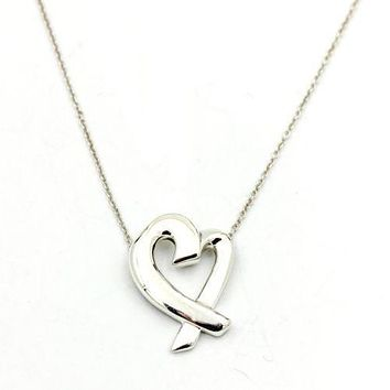 Tiffany & Co. Paloma Picasso Large Loving Heart Pendant Necklace Sterling Silver