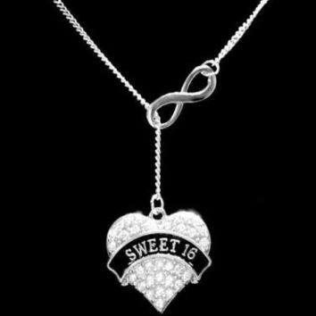 Infinity Crystal Sweet 16 Heart Sixteen Gift Girl Daughter Lariat Necklace