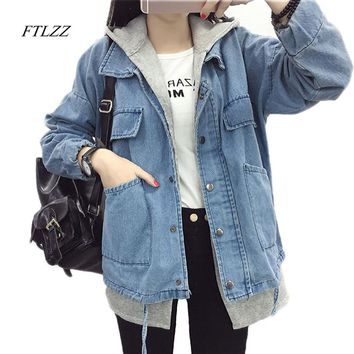 Ftlzz Autumn New Jeans Jacket Women Fashion Patchwork Slim Hood Coat Washing Vintage All-match Women Jeans Coat