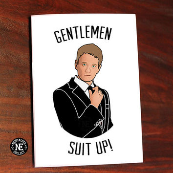 Gentlemen, Suit Up! Barney Stinson Groomsmen Invitation Wedding Card -  5 X 7 Inch Wedding Card or Party Invitation