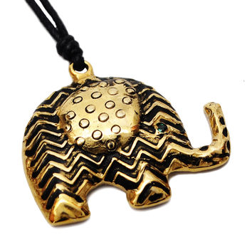 Aztec Elephant Handmade Brass Necklace Pendant Jewelry