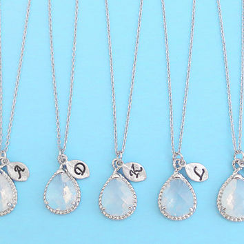 Set of 1-4, Personalized, Letter, Initial, Opal, Glass, Silver, Necklace, Sets, Wedding, Bridesmaid, Bridal, Gift, Jewelry