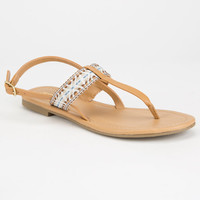 Soda Embroidered Womens T-Strap Sandals Tan  In Sizes
