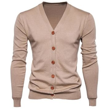 Mens Sweater Button V-neck Sweaters Long-Sleeve Cotton Knit Cardigan