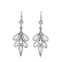 Rose Cut White Topaz Leaf Earrings