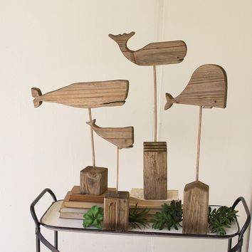 Recycled Wooden Whales on Stands (Set of 4)
